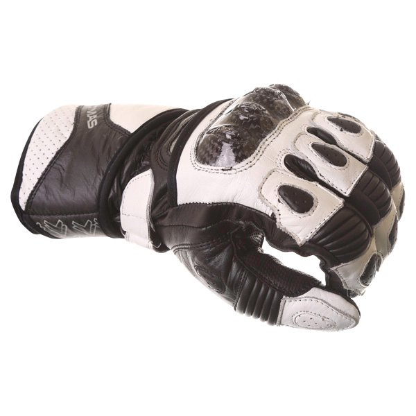 Frank Thomas Sport Black White Motorcycle Gloves Knuckle
