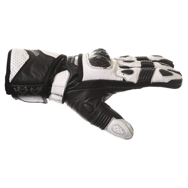 Frank Thomas Sport Black White Motorcycle Gloves Thumb side