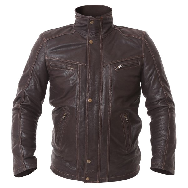 Frank Thomas Cashmere Brown Leather Motorcycle Jacket Front