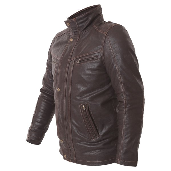 Frank Thomas Cashmere Brown Leather Motorcycle Jacket Side
