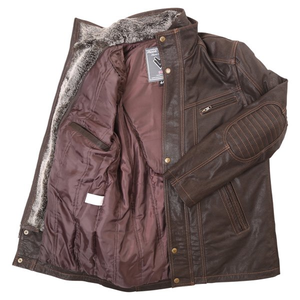 Frank Thomas Cashmere Brown Leather Motorcycle Jacket Inside