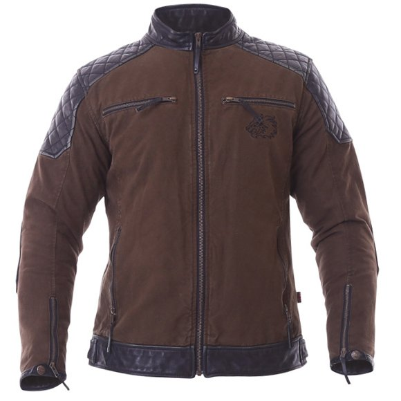 BKS Biker Olive Canvas And Leather Motorcycle Jacket Front