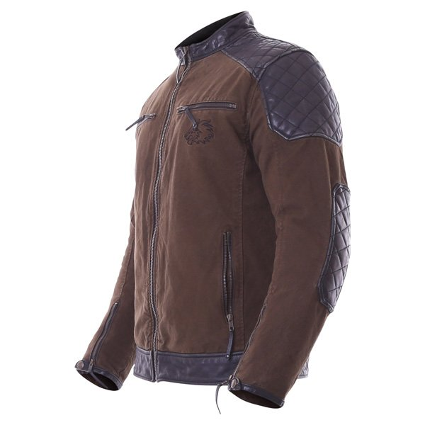 BKS Biker Olive Canvas And Leather Motorcycle Jacket Side