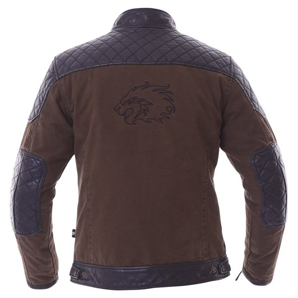 BKS Biker Olive Canvas And Leather Motorcycle Jacket Back