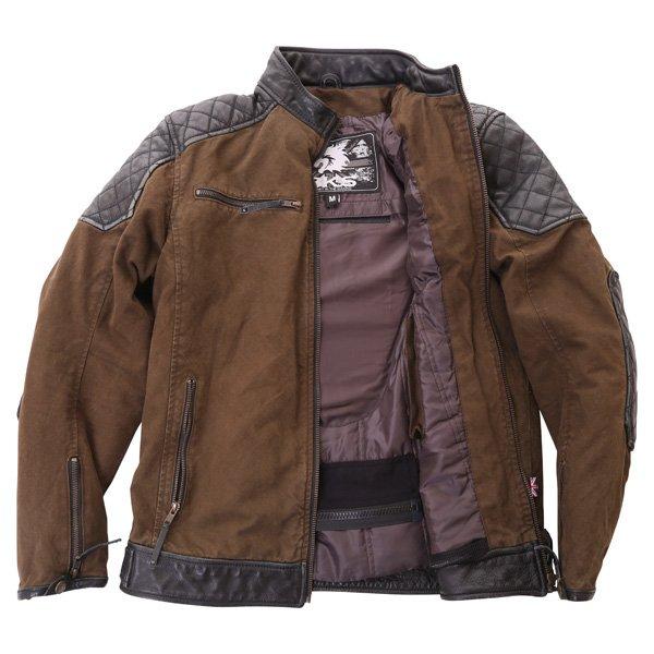 BKS Biker Olive Canvas And Leather Motorcycle Jacket Inside