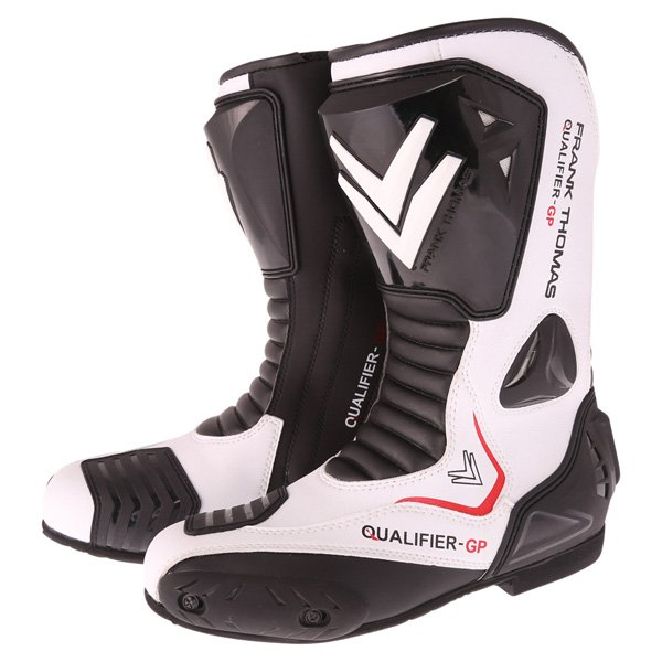 Qualifier GP Boots Black White Motorcycle Boots