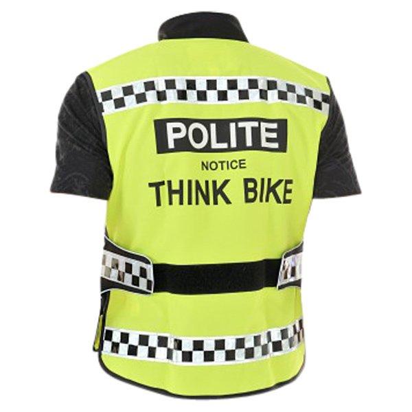 Polite Think Bike Black Yellow Waistcoat Back Front
