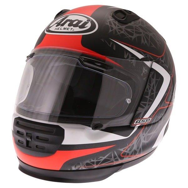 Arai Rebel Sting Red Full Face Motorcycle Helmet Front Left