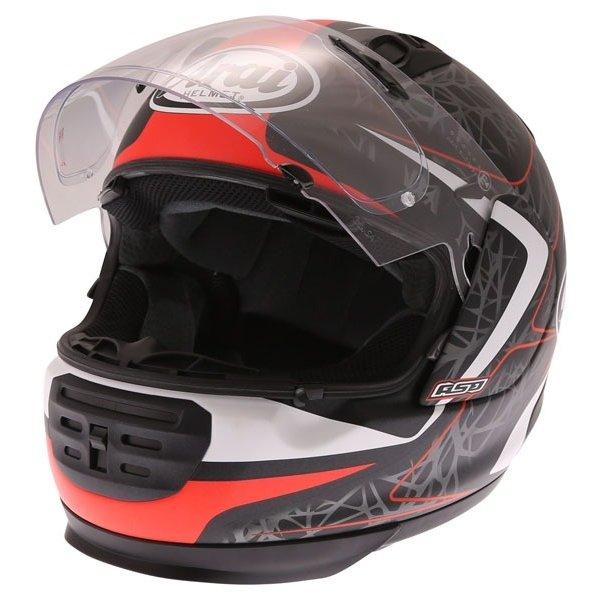Arai Rebel Sting Red Full Face Motorcycle Helmet Open Visor
