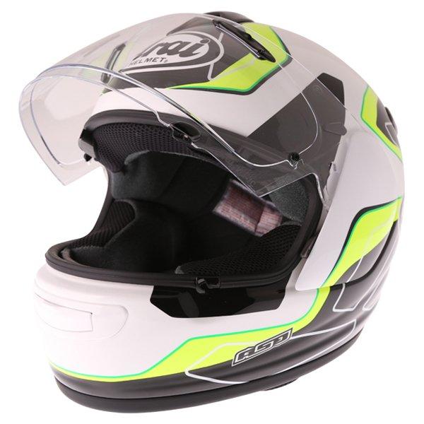 Arai Axces III Flow Green Full Face Motorcycle Helmet Visor Open