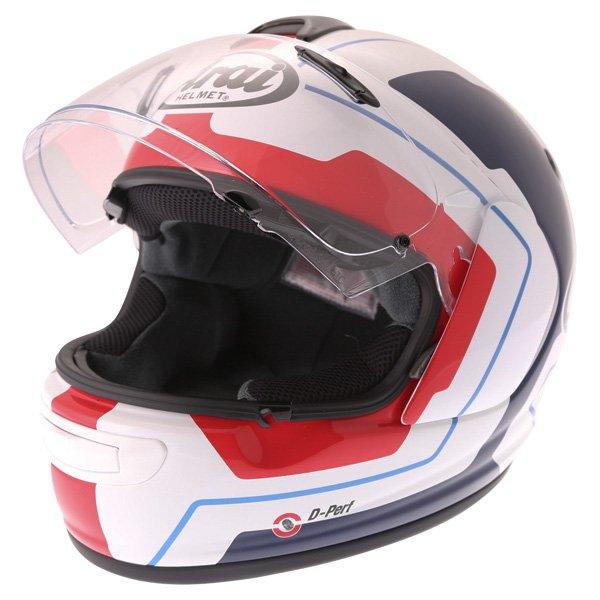 Arai Axces III Line Blue Full Face Motorcycle Helmet Visor Open