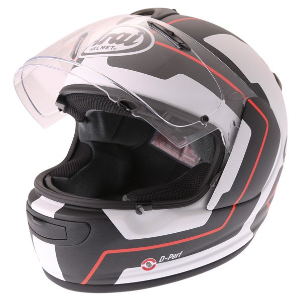 Arai Axces III Line Red Full Face Motorcycle Helmet Visor Open
