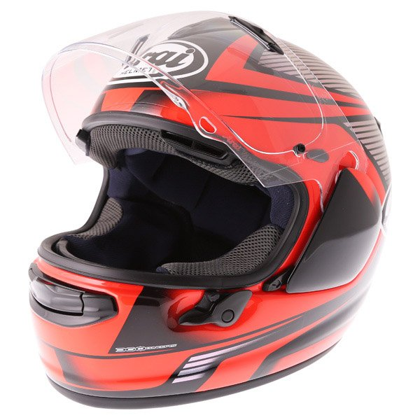 Arai Chaser X Tough Red Full Face Motorcycle Helmet Visor Open