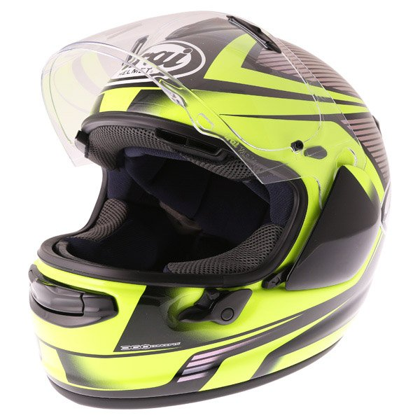 Arai Chaser X Tough Yellow Full Face Motorcycle Helmet Visor Open