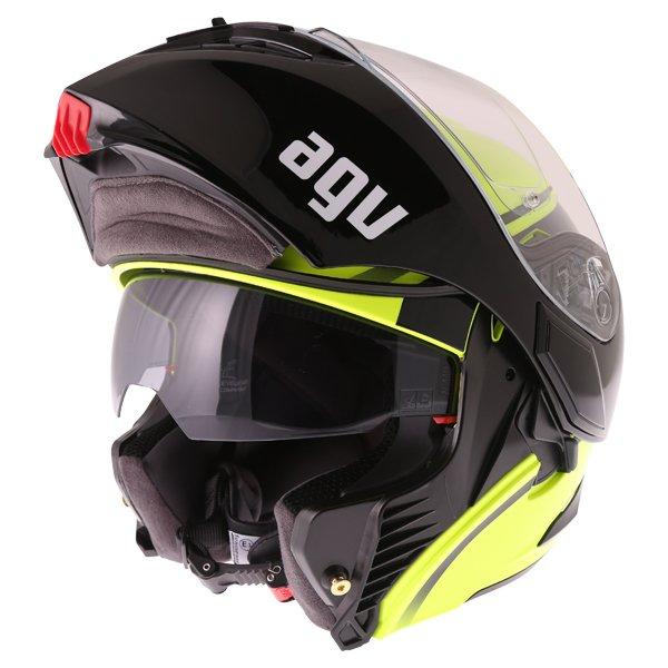 AGV Compact-ST Course Yellow Black Flip Front Motorcycle Helmet Flip Open