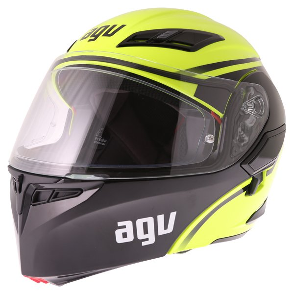 AGV Compact-ST Course Yellow Black Flip Front Motorcycle Helmet Front Left