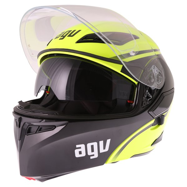 AGV Compact-ST Course Yellow Black Flip Front Motorcycle Helmet Open With Sun Visor