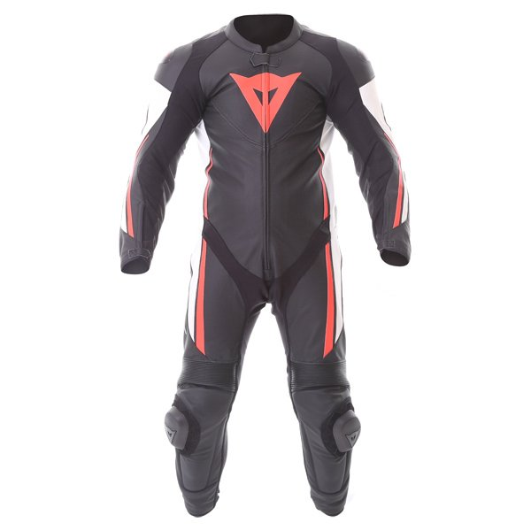 Dainese Assen 1pc Perf Mens Black White Red Leather Motorcycle Suit Front
