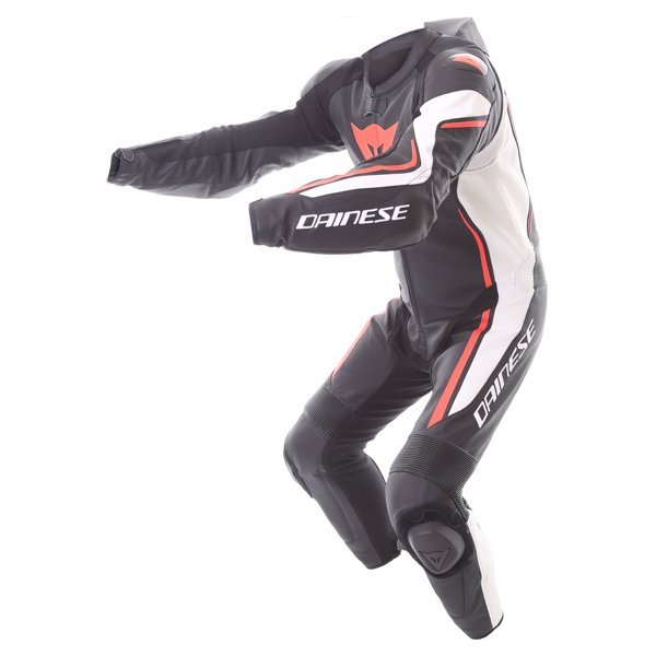Dainese Assen 1pc Perf Mens Black White Red Leather Motorcycle Suit Racing crouch