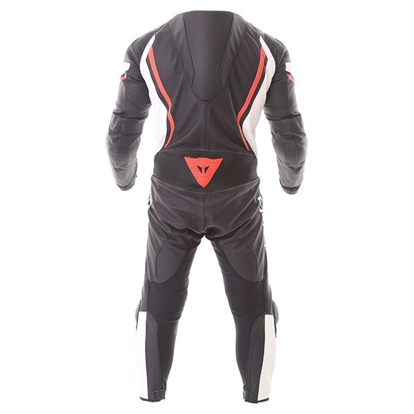 Dainese Assen 1pc Perf Mens Black White Red Leather Motorcycle Suit Back
