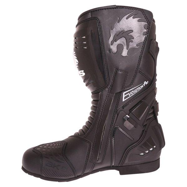 BKS Evolution Pro Black Motorcycle Boots Inside leg