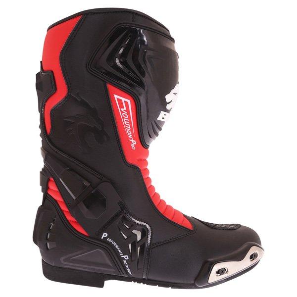BKS Evolution Pro Black Red Motorcycle Boots Outside leg