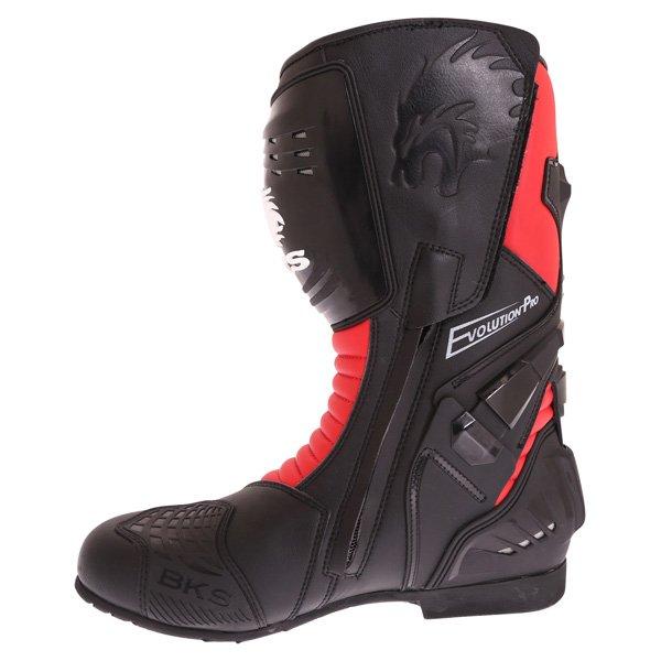 BKS Evolution Pro Black Red Motorcycle Boots Inside leg