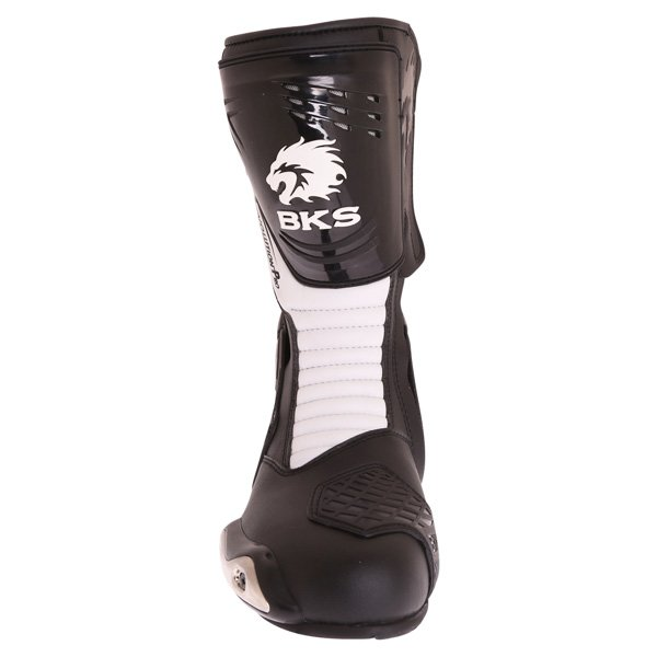 BKS Evolution Pro Black White Motorcycle Boots Front