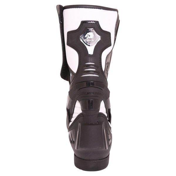 BKS Evolution Pro Black White Motorcycle Boots Heel