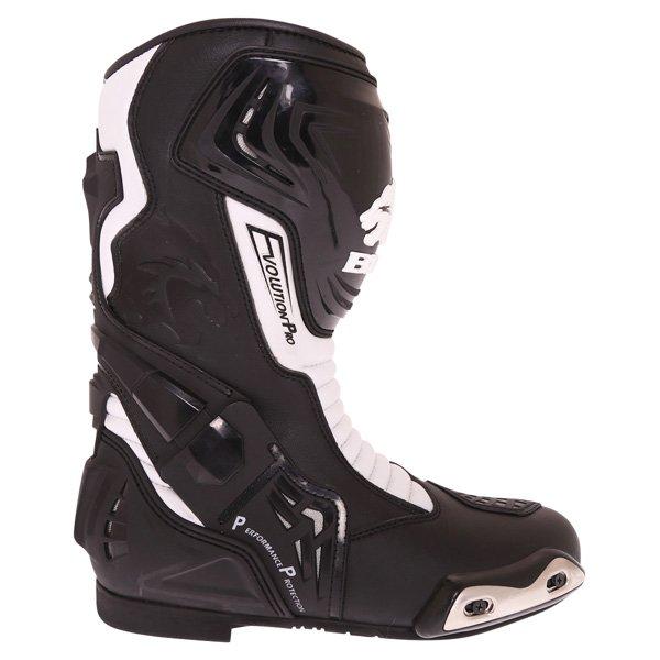 BKS Evolution Pro Black White Motorcycle Boots Outside leg