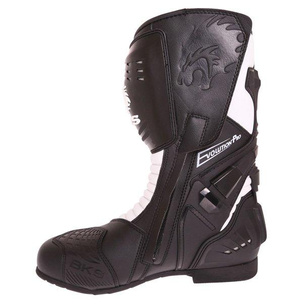 BKS Evolution Pro Black White Motorcycle Boots Inside leg