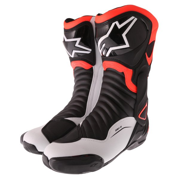 Alpinestars SMX-6 V2 Black Red Fluo White Motorcycle Boots Pair