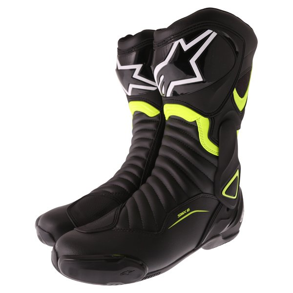Alpinestars SMX-6 V2 Black Fluo Yellow Motorcycle Boots Pair