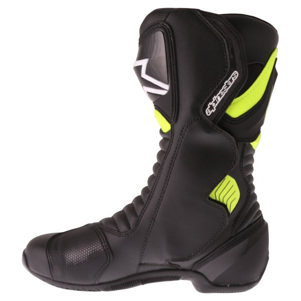Alpinestars SMX-6 V2 Black Fluo Yellow Motorcycle Boots Inside leg