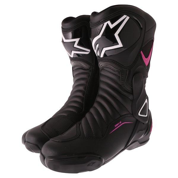 Alpinestars Stella SMX-6 V2 Black Fuchsia White Ladies Motorcycle Boots Pair