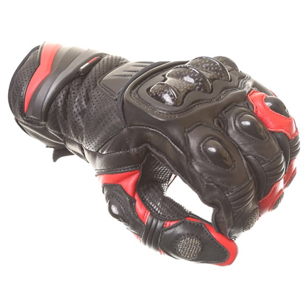 Frank Thomas Dynamic Black Red Motorcycle Gloves Knuckle