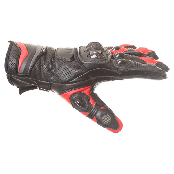 Frank Thomas Dynamic Black Red Motorcycle Gloves Thumb side