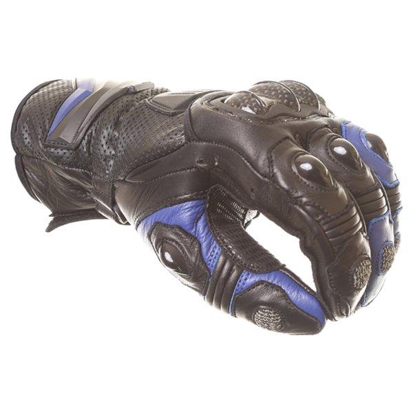 Frank Thomas Dynamic Black Blue Motorcycle Gloves Knuckle
