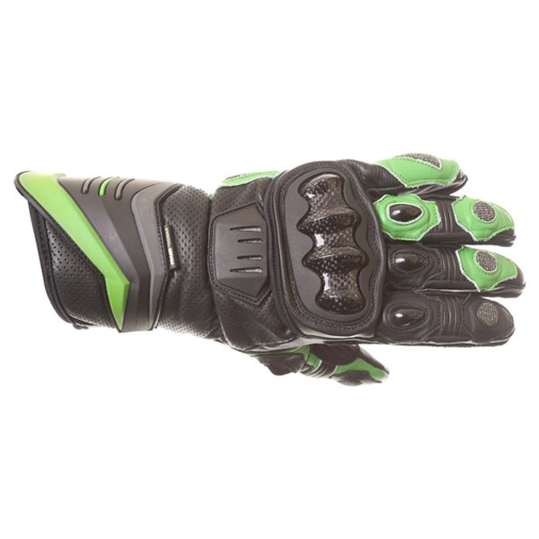 Frank Thomas Dynamic Black Green Motorcycle Gloves Back
