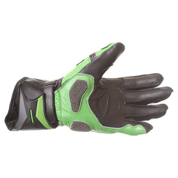 Frank Thomas Dynamic Black Green Motorcycle Gloves Palm