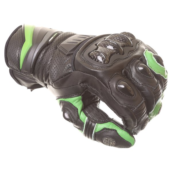 Frank Thomas Dynamic Black Green Motorcycle Gloves Knuckle