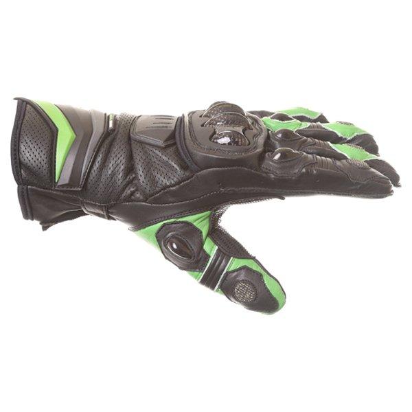 Frank Thomas Dynamic Black Green Motorcycle Gloves Thumb side