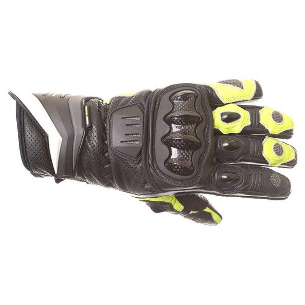 Frank Thomas Dynamic Black Yellow Motorcycle Gloves Back