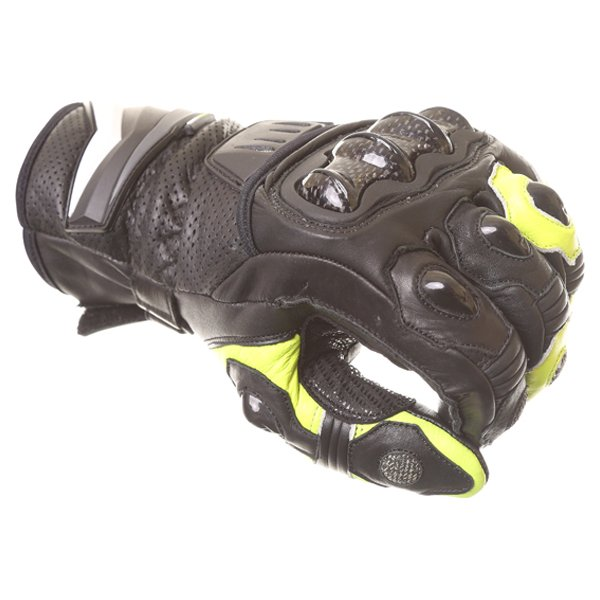 Frank Thomas Dynamic Black Yellow Motorcycle Gloves Knuckle