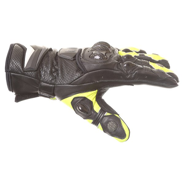Frank Thomas Dynamic Black Yellow Motorcycle Gloves Thumb side