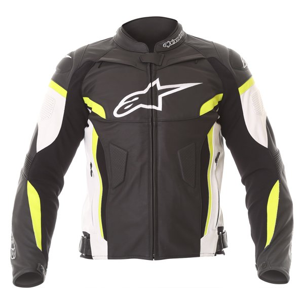 Alpinestars GP Plus R V2 Black White Fluo Yellow Leather Motorcycle Jacket Front