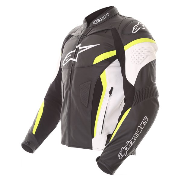 Alpinestars GP Plus R V2 Black White Fluo Yellow Leather Motorcycle Jacket Side