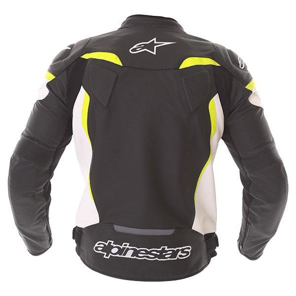 Alpinestars GP Plus R V2 Black White Fluo Yellow Leather Motorcycle Jacket Back