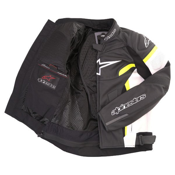 Alpinestars GP Plus R V2 Black White Fluo Yellow Leather Motorcycle Jacket Inside