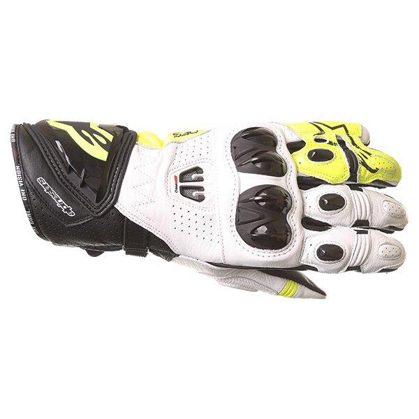 Alpinestars GP Pro R2 White Black Yellow Motorcycle Gloves Back
